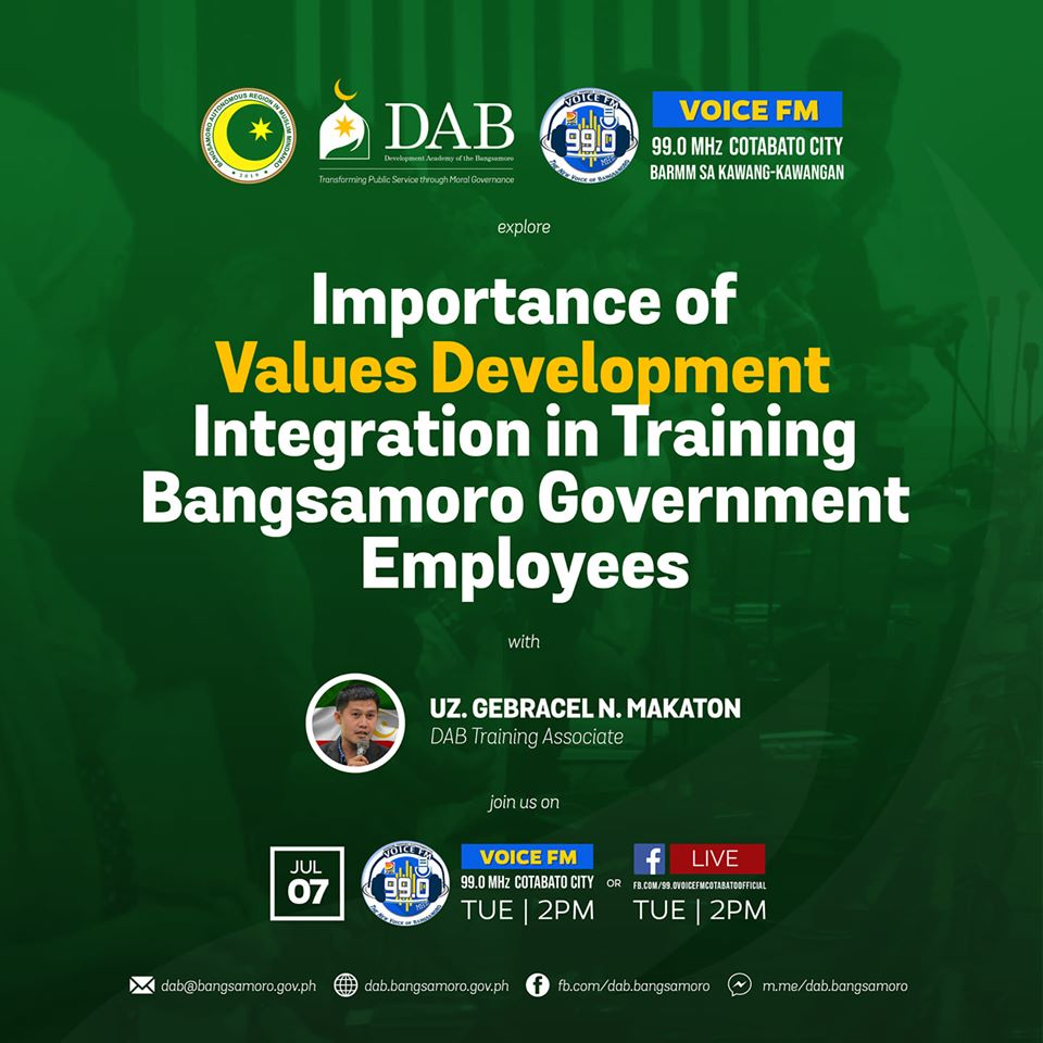 "Importance of Values Development Integration in Training Bangsamoro Government Employees"" with our Training Associate, Uz. Gebracel N. Makaton."